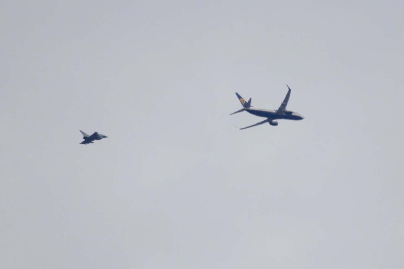 RAF Typhoon fighters escort Ryanair flight to Stansted airport