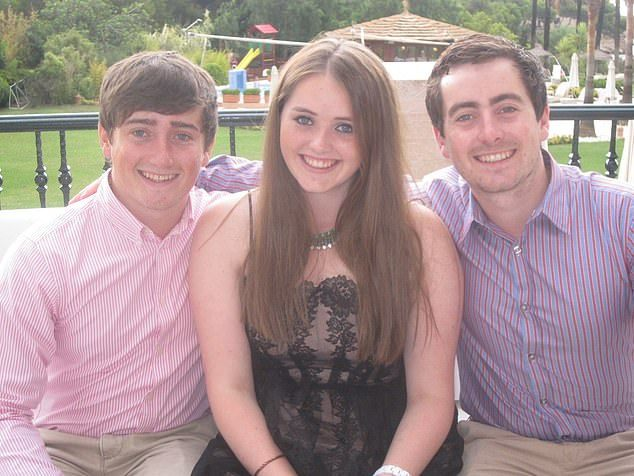 Grace Millane with brothers Declan and Michael